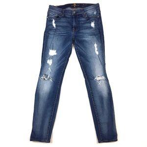 7 FAM ankle skinny jean cropped denim distressed